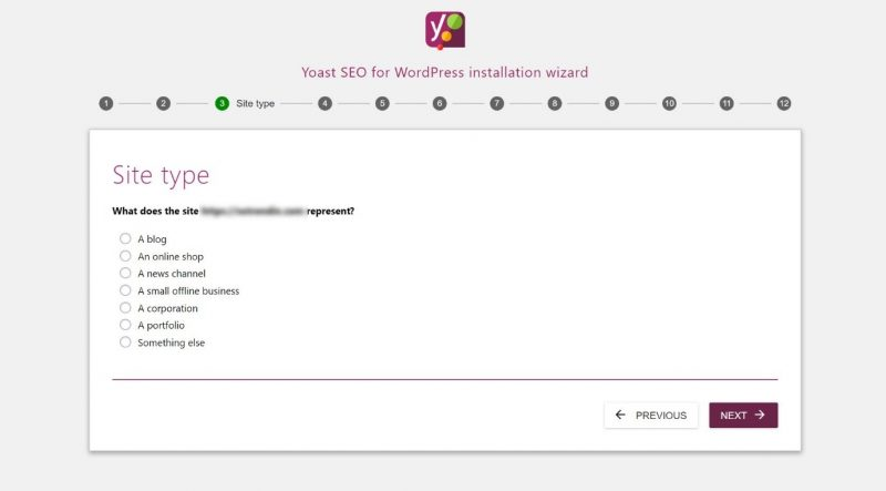 Screenshot of #3 step of Yoast configuration - set your website type