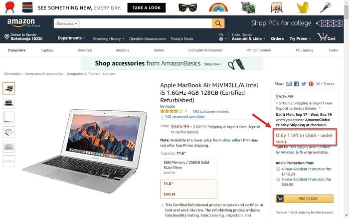Screenshot of Amazon's product page indicating there's only one more item left in stock to trigger scarcity