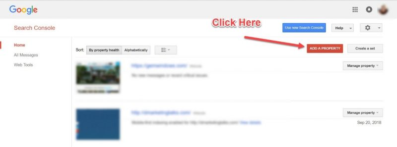 Screenshot of how to add a property in Google Search Console