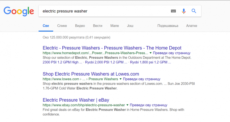 "Screenshot of Google SERP for the term ""electric pressure washer"""