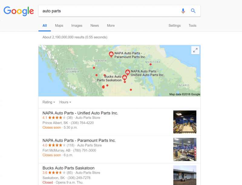 "Screenshot of a local search for ""auto parts"""