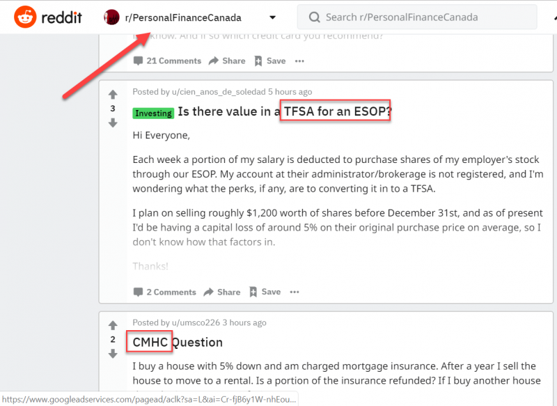 Screenshot of a subreddit related to personal finance