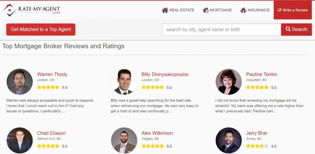Rate my agent website for mortgage agent reviews