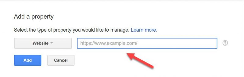 Screenshot of where to add your website URL in GSC