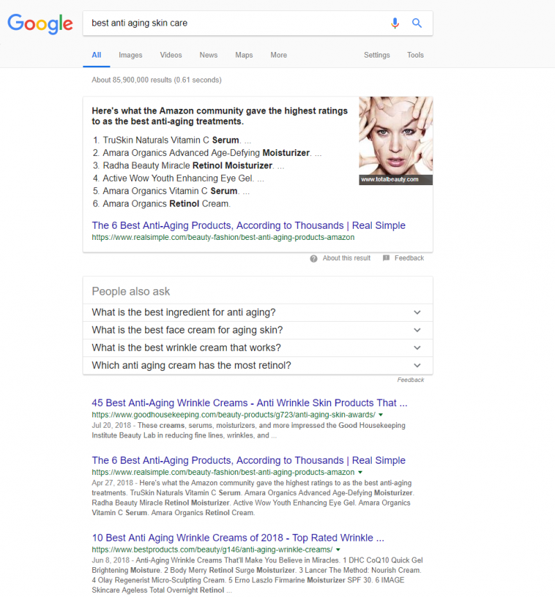 Screenshot of a new Google SERP showing rich snippets