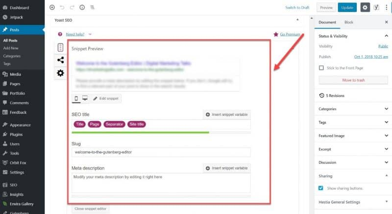Screenshot of the Yoast SEO snippet preview