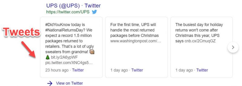 Twitter cards in branded search results