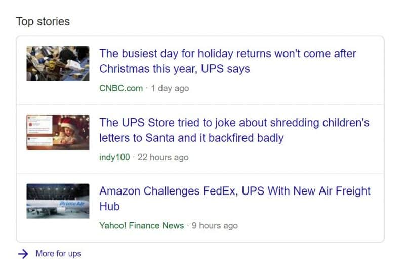 Top news stories for branded search