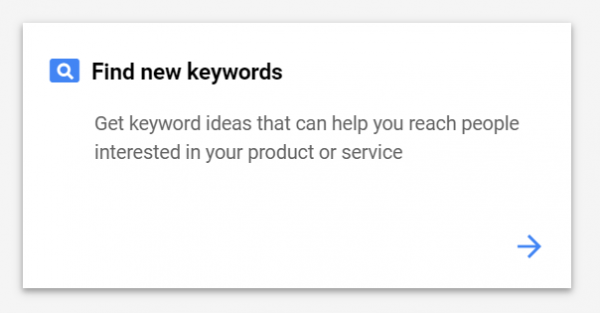 Screenshot of how to find new keywords with Keyword Planner