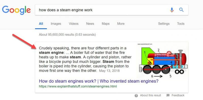 Screenshot of a rich snippet in Google search results