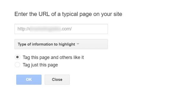 Screenshot of where to enter the URL to a page of your site in GSC Data Highlighter tool