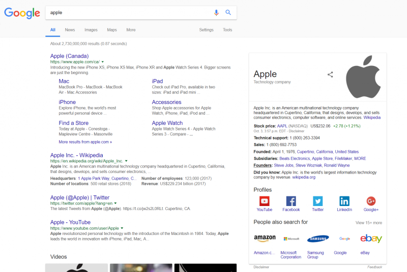 Screenshot of a google search for the term apple that yields results related to Apple as a company