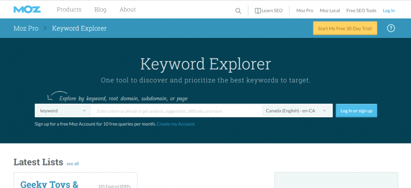 Screenshot of MOZ Keyword Explorer