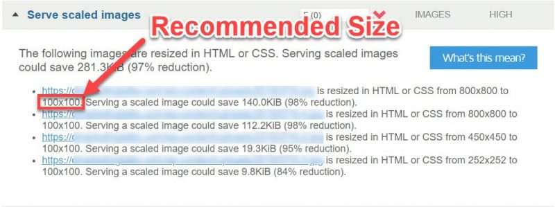 Recommended image size for scaling images