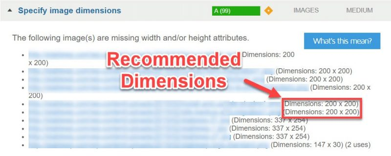 Suggested image dimensions in GTmetrix
