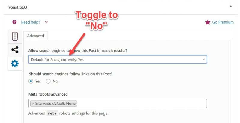 Screenshot of how to tag pages noindex in Yoast SEO plugin
