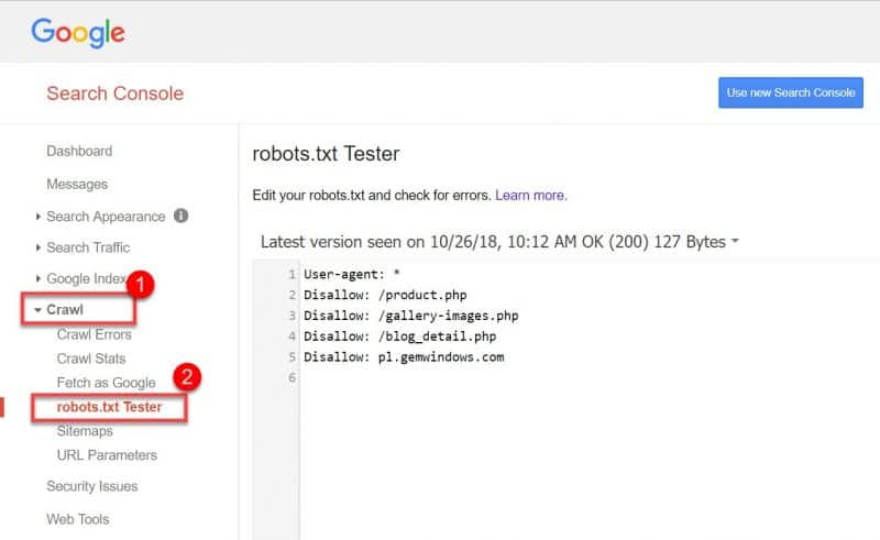 Screenshot of how to test your robots.txt file in GSC