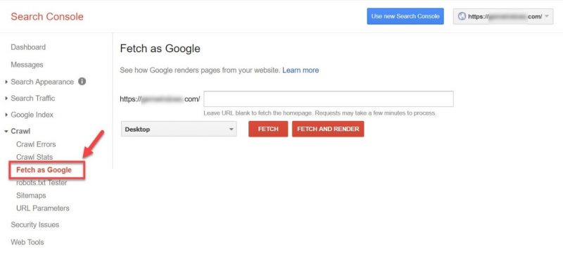 Screenshot of how to fetch a page as Google in GSC