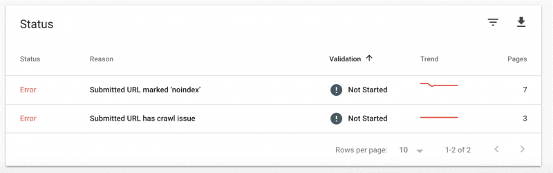 Screenshot of how to check each indexation error in GSC