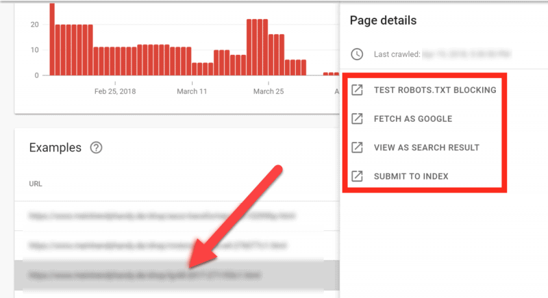 Screenshot of how to check page details for each indexation error in GSC