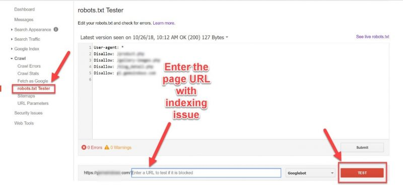 Screenshot of how to test your robots.txt filed for indexing issues