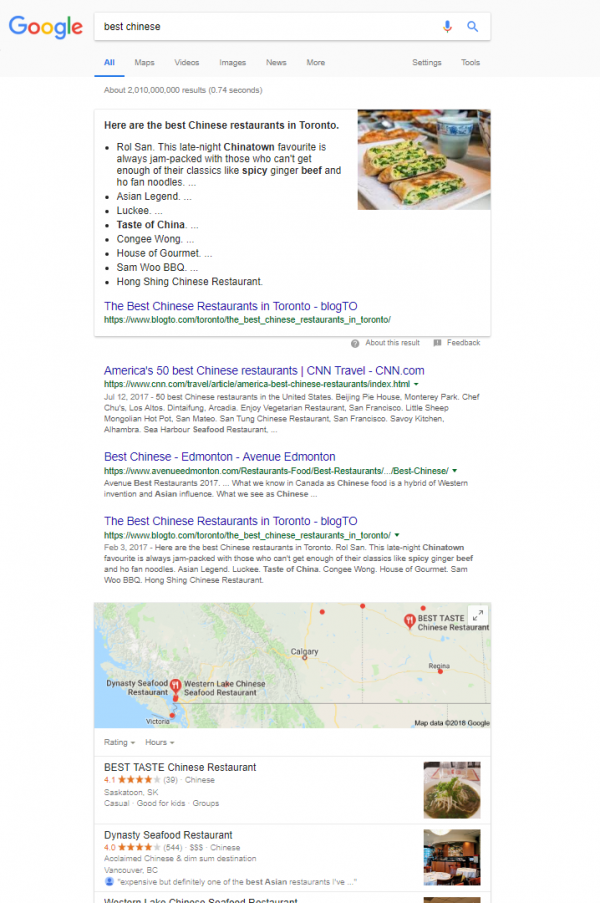 "Screenshot of a google search for the term ""best chinese"" that yields local chinese restaurants"