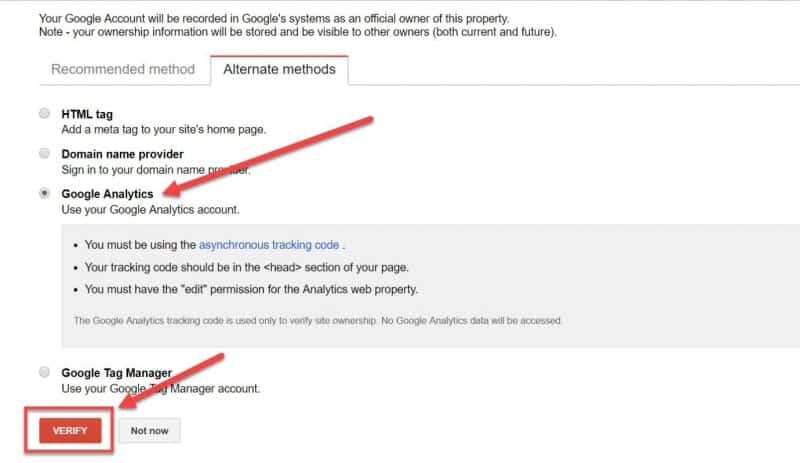 Screenshot of Google Analytics verification method in Google Search Console