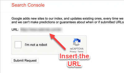 Screenshot of how to submit a URL for indexing in GSC