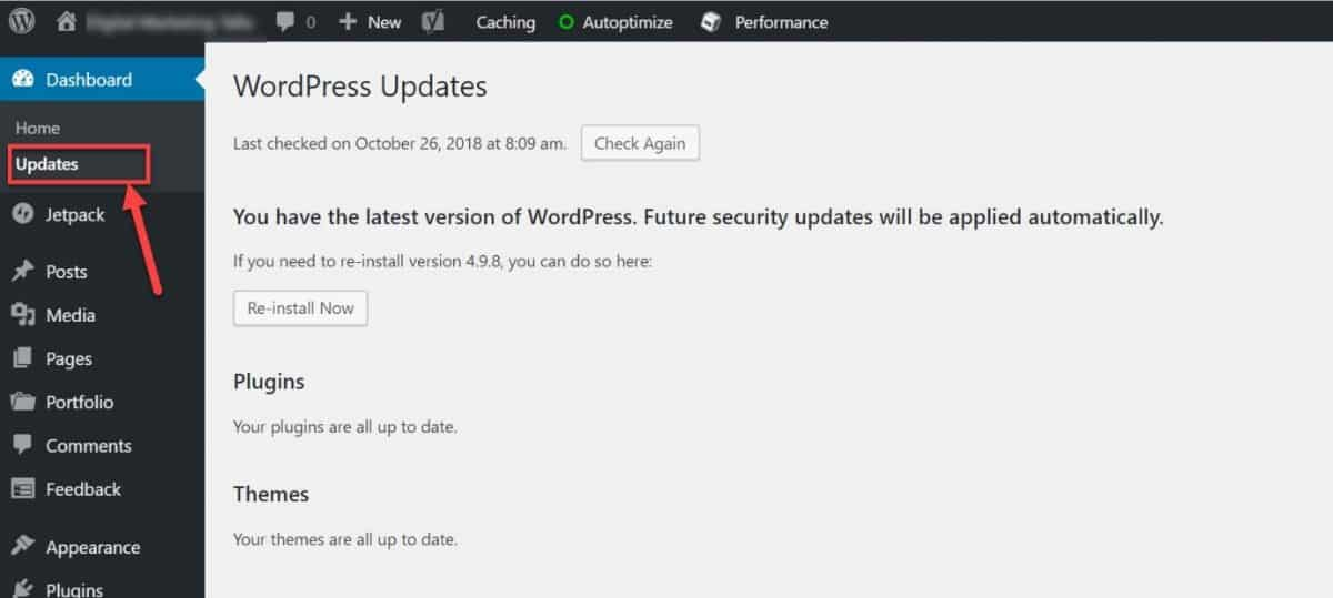 Check for updates in WP