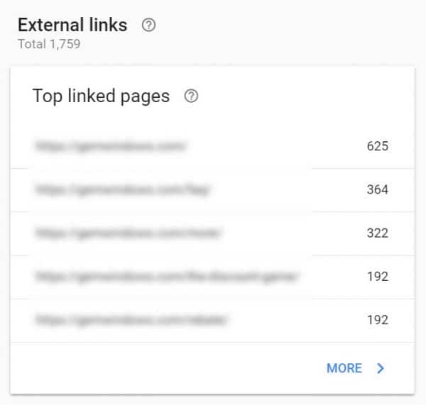 Screenshot on how to Check which pages have the most external links in GSC