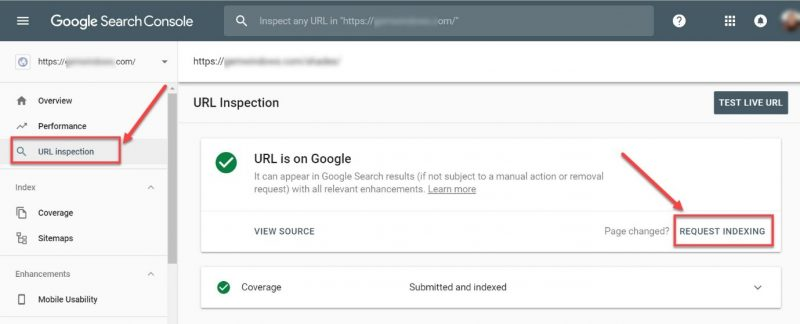 Screenshot of how to request indexing of new pages using the URL inspection tool in GSC
