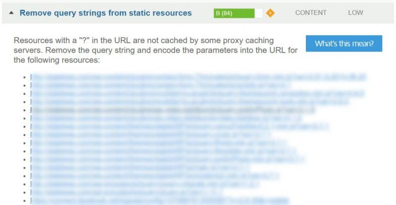 Remove query strings from static resources GTmetrix suggestion