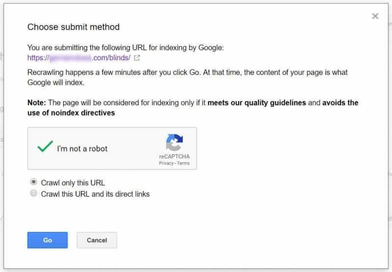 Screenshot on how to Choose the indexing submission method in the old GSC