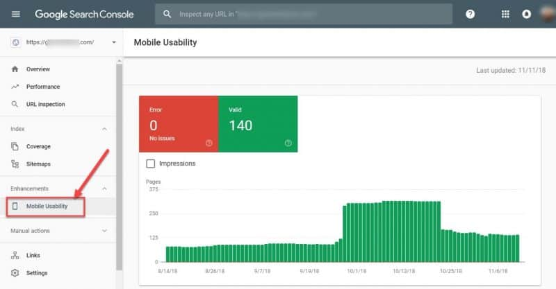 Screenshot of the mobile usability report in GSC