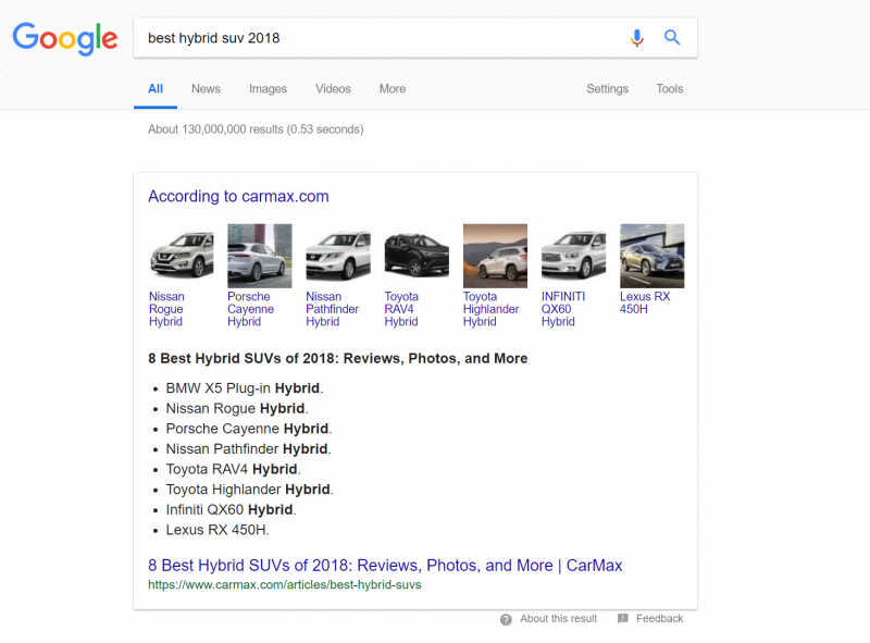 "Screenshot of a Google search for the term ""best hybrid suv 2018"""