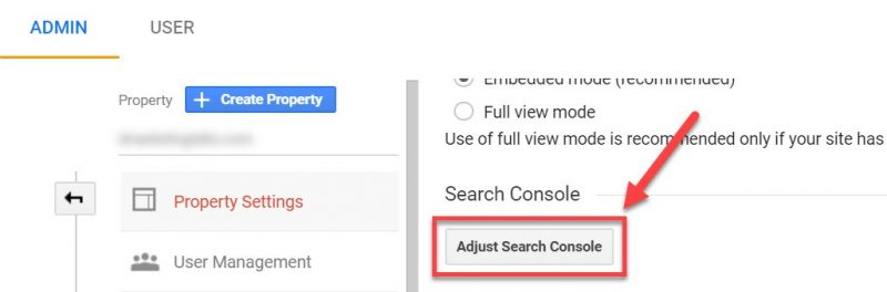 Screenshot of where to click to adjust Search Console in Google Analytics