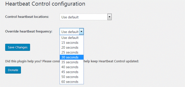 Heartbeat control in WordPress