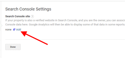 Screenshot of how to add your GSC site to connect it to your Google Analytics