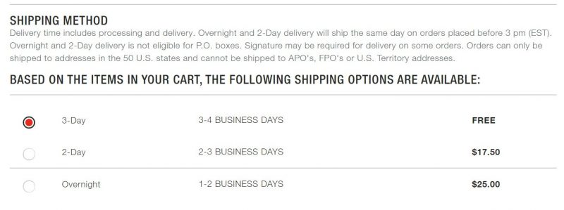 Screenshot of a page showing different shipping speeds, 2 day, 3 day and overnight shipping