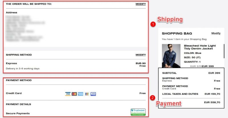 Screenshot of a checkout process where the e-commerce store asks for payment info last, after shipping information