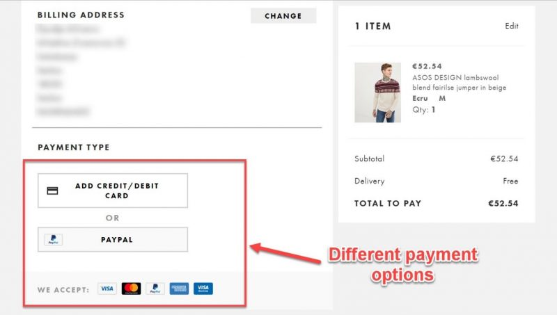 Screenshot of a checkout page offering multiple payment options to users
