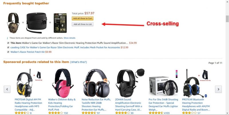Screenshot of the below the fold area of Amazon's product page where they offer cross sells to increase customer spending