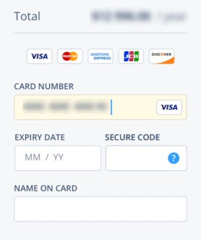 Screenshot of a well designed payment for on an e-commerce checkout page with as few form fields as possible
