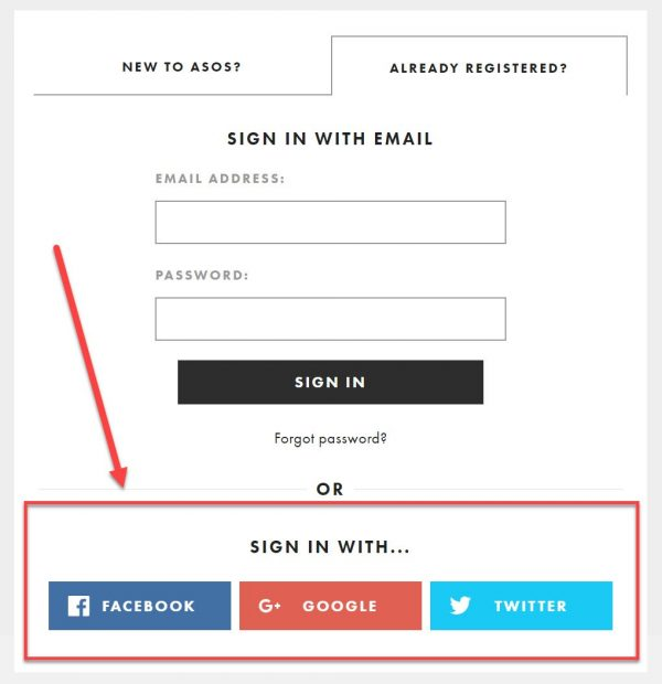 Screenshot of social login options on an e-commerce checkout page