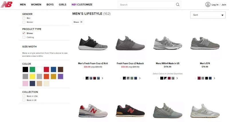 Screenshot of an ecommerce site, shopping for shoes