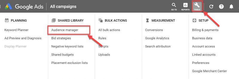 Screenshot of how to select Google Ads audience manager