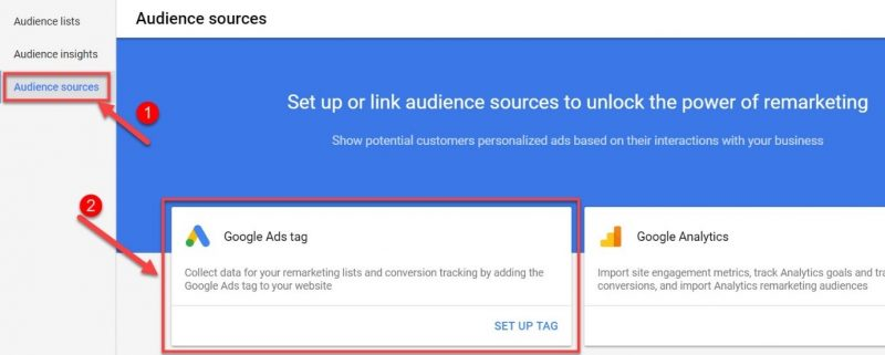 Screenshot of Google Ads audience sources