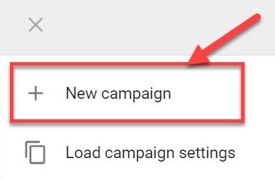 Screenshot of how to set a new campaign in Google ads