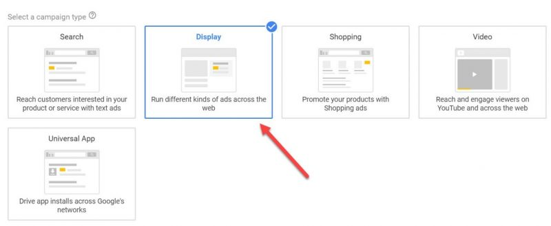 Screenshot of how to select Display ads in Google Ads