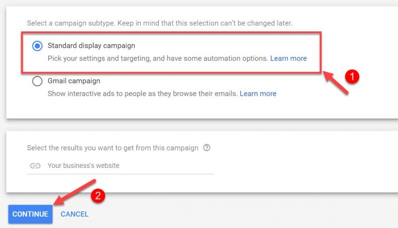 Screenshot of how to select the ad placement for Google display ads